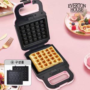 에버튼하우스 와플메이커(핑크) 간식 와플기 샌드위치