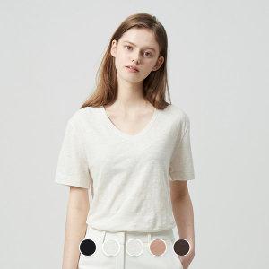 지오다노 329523 여 브이넥 반팔 티셔츠 20SS