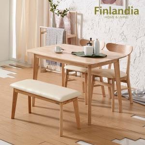 핀란디아 데니스 내추럴 4인식탁세트(의자2벤치1) 무배