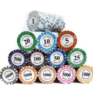 국제규격 경기용 숫자 카지노칩 100P 세트 포커칩