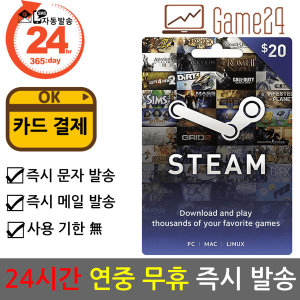 STEAM 스팀 월렛 20달러 20불 기프트카드 (카드결제ok)