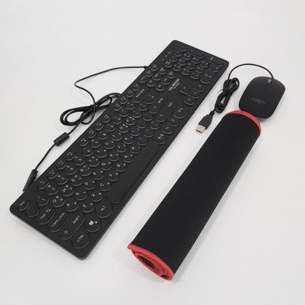 유선 LED 레트로 키보드 마우스 게이밍 장패드 세트