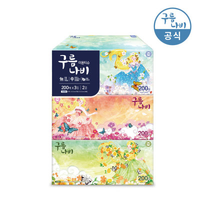 [구름나비] 구름나비천연펄프 각티슈 200매x3개/미용티슈/곽티슈