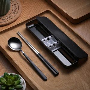 인쇄옵션다량구매쿠킹홈 휴대용 수저 세트(블랙)