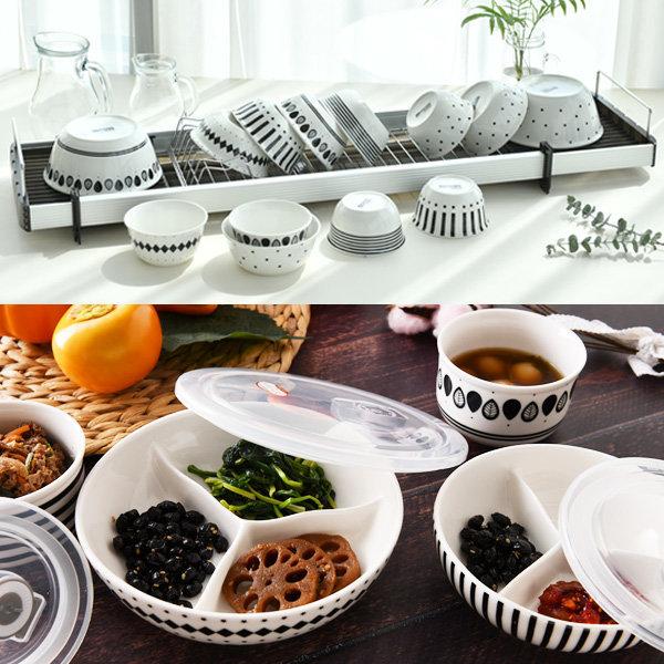 도자기 세트/밀폐 용기 그릇 나눔 접시 반찬통 2p/3p