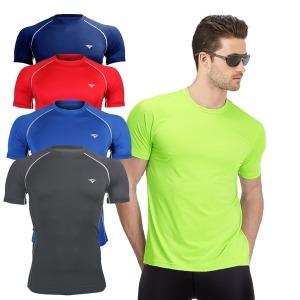 남성 스포츠 컴프레션 티셔츠 반팔 라운드티
