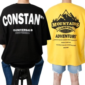 남자 반팔 봄 여름 7부 오버핏 레터링 프린팅 티셔츠