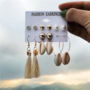 데일리 귀걸이 6쌍 화이트 골드 쉘 볼 디자인 이어링