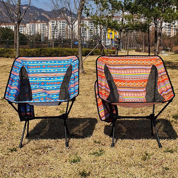 코코아이티 경량 캠핑 체어 의자 폰거치가능 블루
