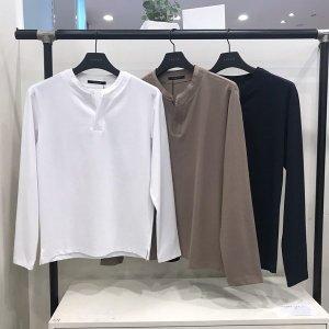 남성 TC 넥변형 헨리넥 긴팔 티셔츠 (O193TS140P)