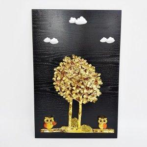 40x60 돈나무 부엉이 입체 부조 인테리어액자