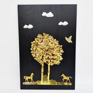 40x60 행복나무 말 입체 부조 인테리어액자