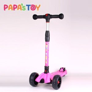 (파파스토이) 알파카 몬스터휠 킥보드 어린이 스쿠터 (접이식) 핑크