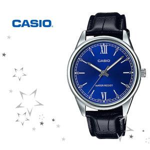 카시오 MTP-V005L-2B 남성 클래식 가죽 시계
