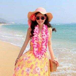 하와이안 조화 꽃 목걸이 3color 웰컴플라워 목걸이