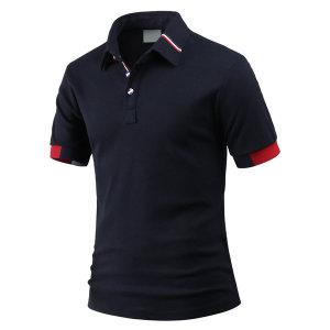 남성 카라 티셔츠 소매 배색 반팔 카라티 tp1152