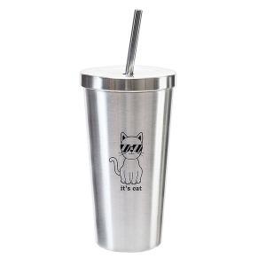 잇츠캣 스텐 보온 보냉 빨대 텀블러 500ml 캐릭터 컵