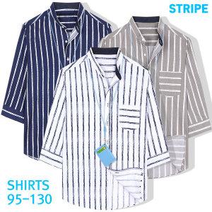빅사이즈 스트라이프 셔츠 7부 남자 남성 남방 반팔