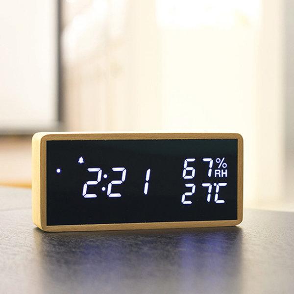잇츠온 IT-WMC2 온습도계 LED 우드 미러 탁상시계