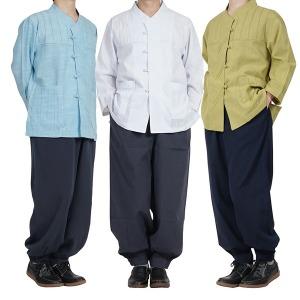 여름 남성 개량한복 생활한복 순면 저고리 바지 세트