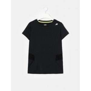 블랙 여성 베이직 라운드넥 반팔 티셔츠 (BO0442E115)