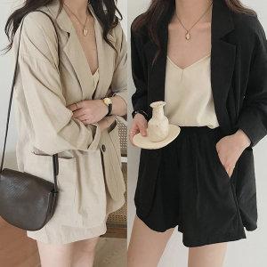린넨자켓+반바지 여성투피스 캐주얼 신상 봄 여름자켓