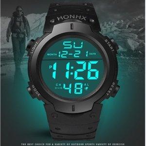 LED 디지털 스포츠 손목 시계 남성용 방수 등산 운동