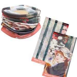 르누아르 작품 부채를든소녀 명화 등산 스카프 두건