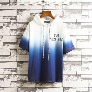 남성 반팔 후드 티셔츠 여름 캐주얼 레터링 sbi96