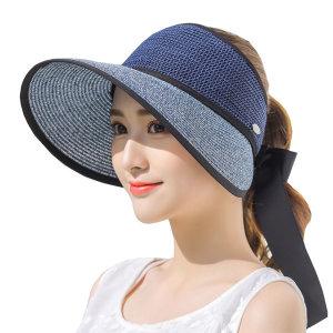 예쁜 밀짚 리본 프라햇/여름 여성 비치 돌돌이 모자