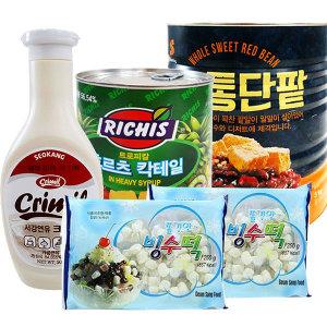 팥빙수재료 대용량C 세트 빙수팥/후루츠/빙수떡/연유