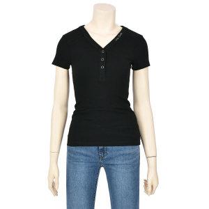 여성 골지 헨리넥 반팔 티셔츠 YK2K2412