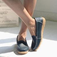 3cm 천연소가죽 펀칭 로퍼 여성 단화 슬립온 신발