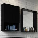 욕실장 욕실수납장 거울 첼로블랙오픈장500