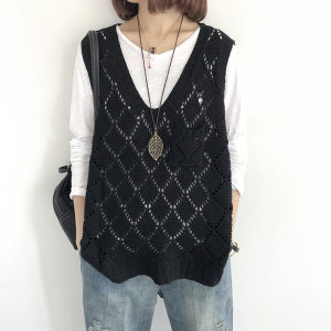 여성 와플 니트 조끼 그물 스웨터 베스트 루즈핏 /비스