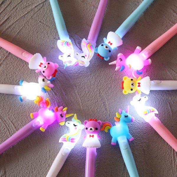 LED 유니콘 라이트 볼펜 LED 드래곤/말 볼펜 선물 추전