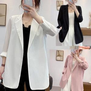 여자 쉬폰 자켓 캐주얼 아우터 오피스룩 루즈핏 jm21