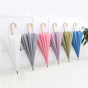 튼튼한 16K 자동 장우산 무지 예쁜우산 파스텔 우드
