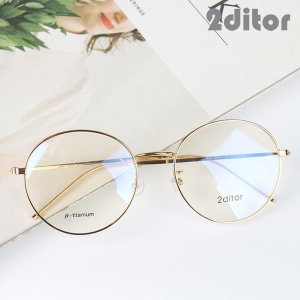 (2ditor) 투디터 남 여 공용 패션 오버사이즈 티타늄 56 원형 동글이 안경테