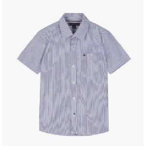 면혼방 스트라이프 반소매 셔츠( T42A1HSH074BT2 )