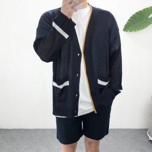 (엠클로) 엠클로 오버핏 여름 넥라인 배색 포켓 박스 니트가디건 3컬러