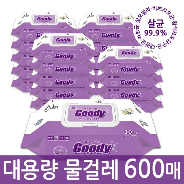 청소엔구띠 물걸레청소포 캡형 20팩(600매)청소물티슈