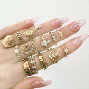 여자 레이어드 보석 반지 15개 디자인 반지 애끼 링