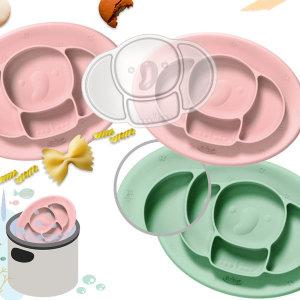 실리콘 흡착 코끼리식판+뚜껑 세트 (민트) 아기식판