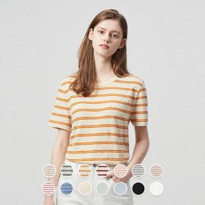 여 크루넥 슬럽 반팔 티셔츠(패턴) 320522P