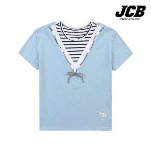 (현대Hmall) 보리보리/JCB 브이 스트라이프 배색 반팔티셔츠