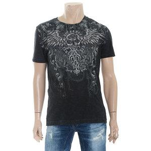남성용 프리미엄 스컬 윙 R넥 반팔 티셔츠(B182TS391P)