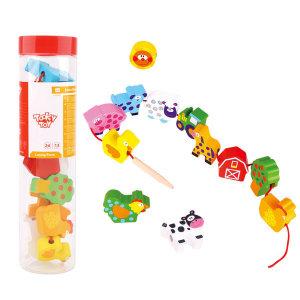 Tooky Toy 원목 동물농장 끈꿰기(510) /원목교구