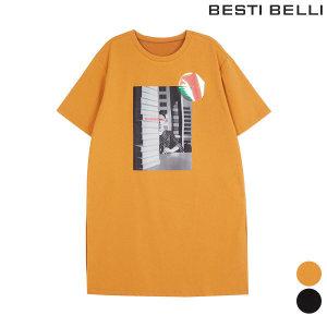 라운드 면혼방 프린팅 옆 슬릿 티셔츠 BXIBE2852