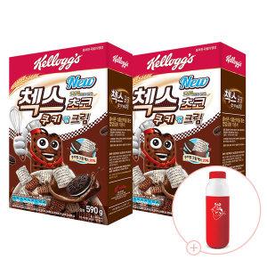 오곡 첵스초코 쿠키앤크림 590g 2개 + 밀크보틀